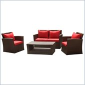 International Caravan St. Lucia 4 Piece Wicker Patio Set in Red