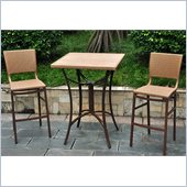International Caravan Barcelona 3-Piece Wicker Bistro Set in Honey 