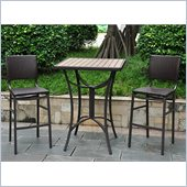 International Caravan Barcelona 3-Piece Wicker Bistro Set in Chocolate