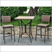 International Caravan Barcelona 3-Piece Bistro Set in Antique Brown