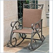 International Caravan Lisbon Wicker Rocking Chair in Antique Brown