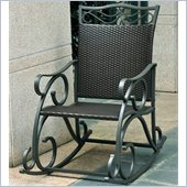 International Caravan Lisbon Wicker Rocking Chair in Black Antique 