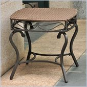 International Caravan Lisbon Wicker Patio Side Table in Antique Brown 