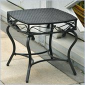 International Caravan Lisbon Wicker Patio Side Table in Black Antique 