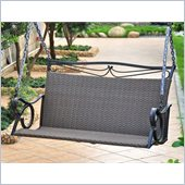 International Caravan Lisbon Loveseat Porch Swing in Black Antique 