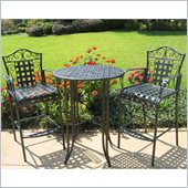 International Caravan Mandalay Iron 3 Piece Pub Set in Antique Black