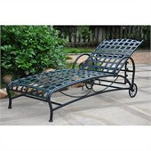International Caravan Santa Fe Wrought Iron Outdoor Single Chaise in Verti Gris