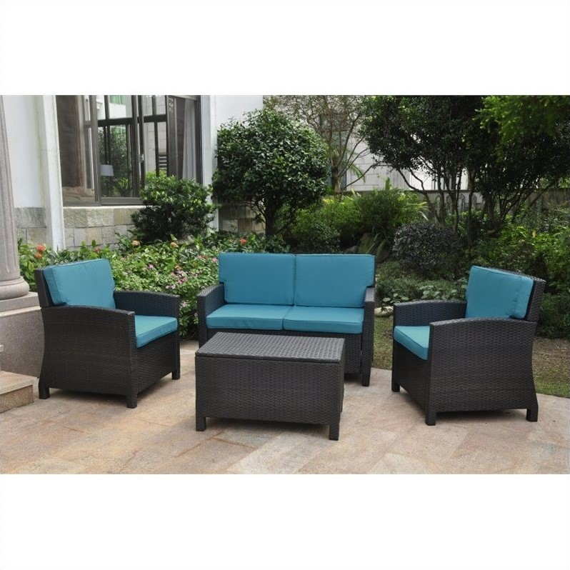 International Caravan Barcelona 4 Piece Patio Sofa Set in Black