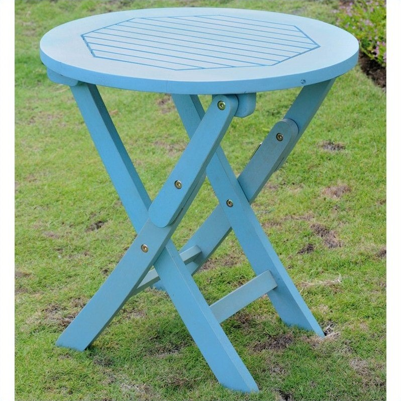 International Caravan Royal Fiji 19 Folding Patio Table in Sky Blue