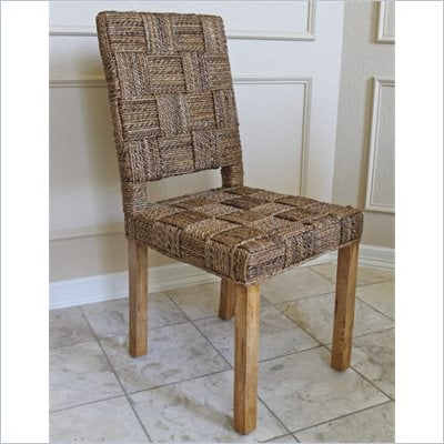 International Caravan Rica Set of 2 Basket Weave Accent Dining Chairs