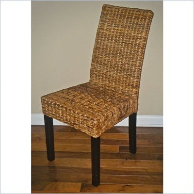 International Caravan Abacca Mahogany Leaf Dining Chair - Set of Two