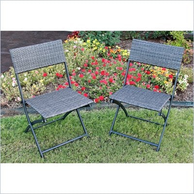 International Caravan Aledo Set of 2 Wicker Resin Patio Chairs