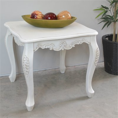 International Caravan Square Carved Wood End Table in White