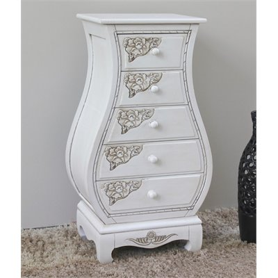 International Caravan Carved Wood Five Drawer Lingerie Chest in White