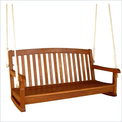 "International Caravan Outdoor Balau 59"" 3 Seater Wood Swing"