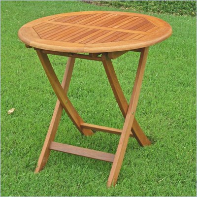 International Caravan Balau 28&quot; Wood Round Folding Patio Table