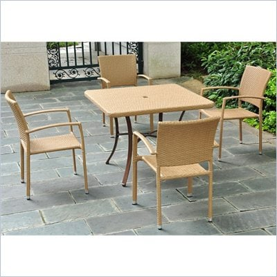 "International Caravan Barcelona 39"" Wicker Dining Table in Honey"