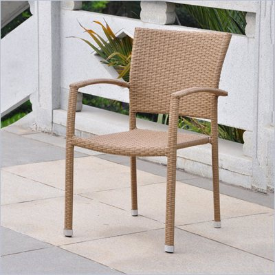 International Caravan Barcelona Wicker Patio Chairs in Honey(Set of 2)