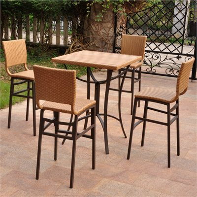 International Caravan Barcelona 5-Piece Bistro Patio Set in Honey 