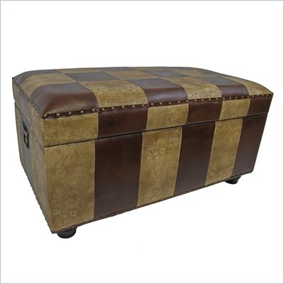 International Caravan Carmel Faux Leather Bench Trunk in Mix Pattern