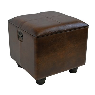 International Caravan Carmel Square Ottoman Trunk with Lid in Brown