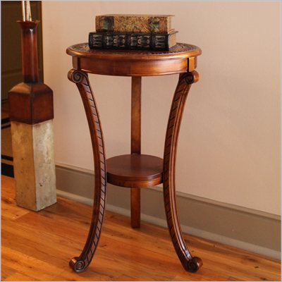 International Caravan Carved Wood Round Plant Stand in Mahogany