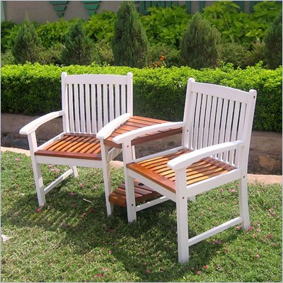 International Caravan Chatham Corner Double Patio Chair in White Oak