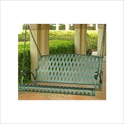 International Caravan Diamond Lattice Iron Outdoor Porch Swing