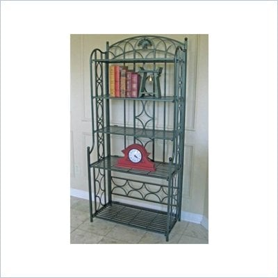 International Caravan Mandalay Iron 5-Tier Bakers Rack in Verdi Gris