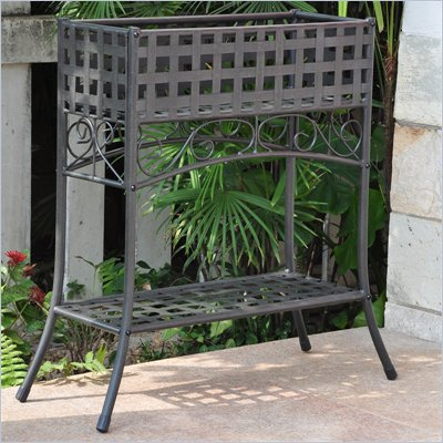 International Caravan Mandalay Iron Outdoor Rectangular Plant Stand