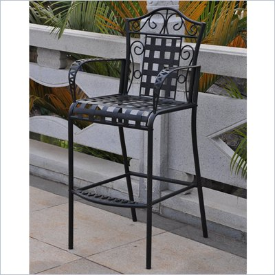 International Caravan Mandalay Iron Bar Height Patio Chairs - Set of 2