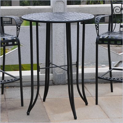 "International Caravan Iron KD 30"" Round Bar Height Table in Antique Black"