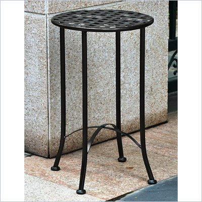 International Caravan Mandalay 15&quot; Wrought Iron Table in Antique Black 