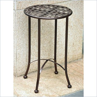 International Caravan Mandalay 15&quot; Wrought Iron Table in Bronze 