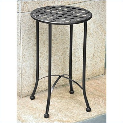 "International Caravan Mandalay 15"" Wrought Iron Patio Table in Petwer"