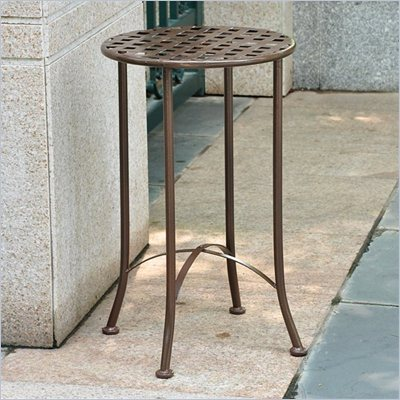 International Caravan Mandalay 15&quot; Wrought Iron Table in Rustic Brown 