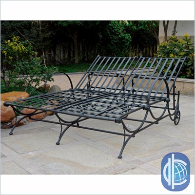 International Caravan Mandalay Iron Multi-Postion Double Chaise Lounge