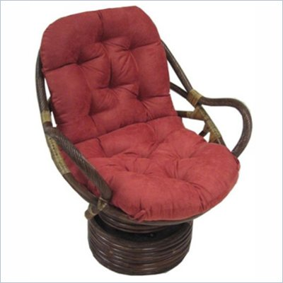 International Caravan Rattan Swivel Rocker with Microsuede Cushion