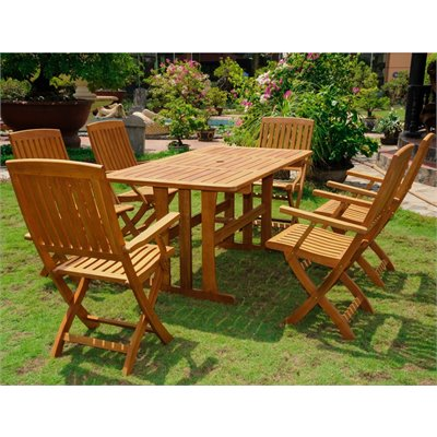 International Caravan Royal Tahiti 7-Piece Dining Set in Premium Stain 