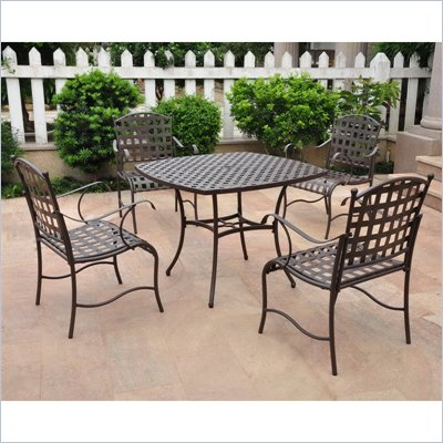 International Caravan Santa Fe Set of 5 Wrought Iron Patio Set