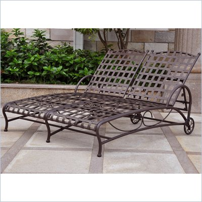 International Caravan Santa Fe Wrought Iron Double Patio Chaise Lounge