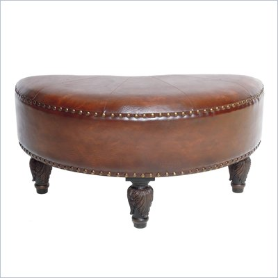 International Caravan Sicily Faux Leather Ottoman in Brown