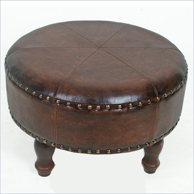 "International Caravan Sicily 24"" Round Ottoman Stool in Brown"
