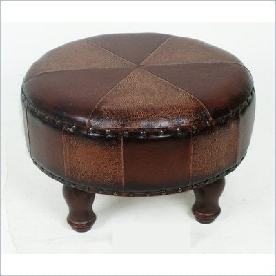 International Caravan Sicily 24&quot; Round Ottoman Stool in Mix Pattern