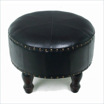 "International Caravan Sicily 20"" Round Ottoman in Dark Chocolate"