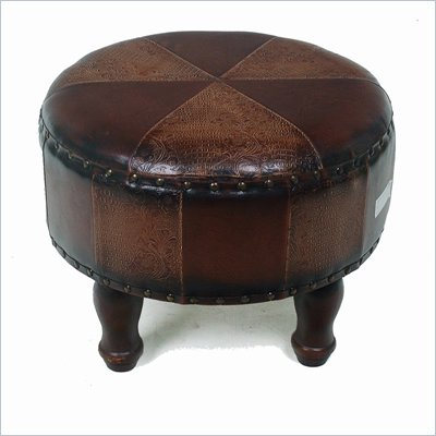 International Caravan Sicily 20&quot; Round Ottoman in Mix Pattern