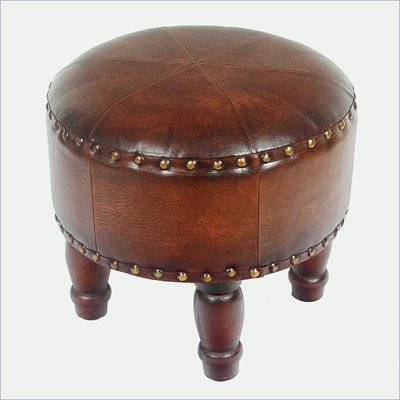 "International Caravan Sicily Faux Leather 17"" Round Stool in Brown"