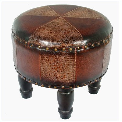 International Caravan Sicily 17&quot; Round Stool in Mix Pattern