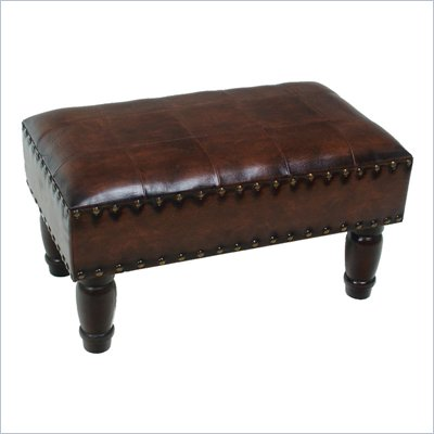 International Caravan Sicily Faux Leather 20&quot; Indoor Stool in Brown