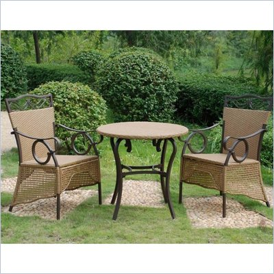 International Caravan Valencia Set of 3 Skirted Bistro Patio Set